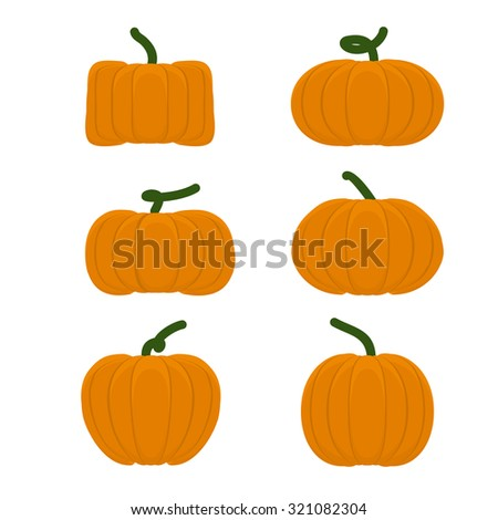 Set different pumpkins. Vegetables for Halloween. - stock vector