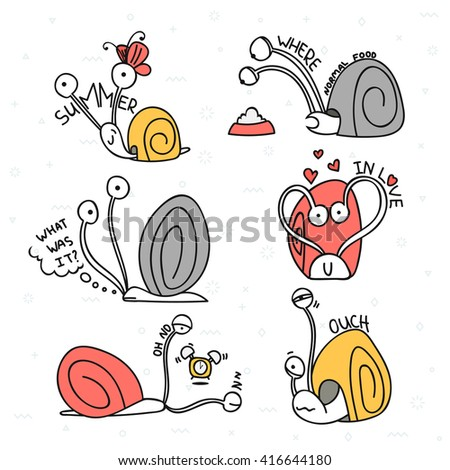 Set doodle characters isolated. Funny animal story.  Snail with emotions. Design elements.  Cartoon pets stylish muzzle - stock vector