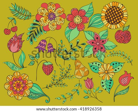 set doodle floral , colorful leaves, fruits, twigs, flower. Color design elements. colorful floral doodle pattern. vector, sunflowers, cherry, strawberry, tulip, pear, stems, Bluebell, campanula - stock vector
