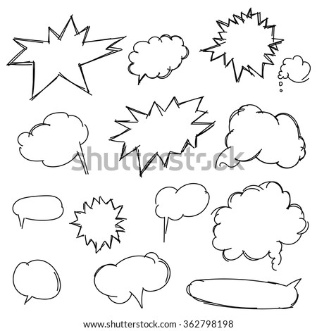 Set doodle shapes for message. Pencil sketches. Hand drawn scribble shapes and star. A set of doodle line drawings. Vector design elements
