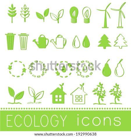 set eco icon on white background. Vector illustration design - stock vector