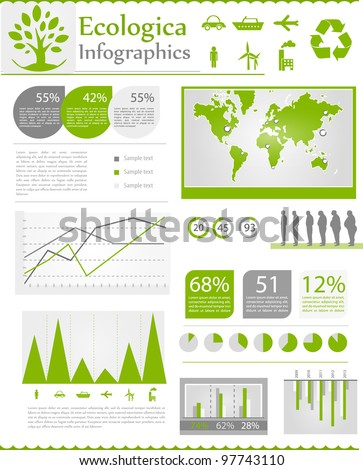 Set ecologic elements of infographics. World Map and Information Graphics - stock vector