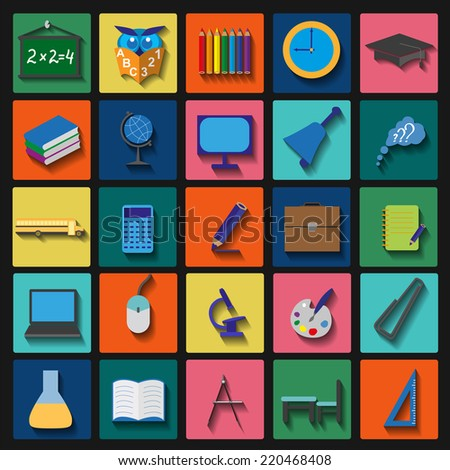 Set education icons. Vector illustration