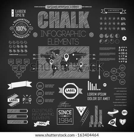 Set elements of  chalk infographics - stock vector