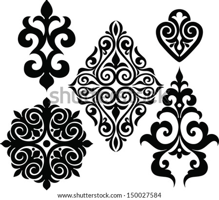 Set elements of ethnic ornament - stock vector