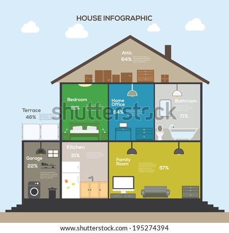 Set elements of House Infographics. Flat design. - stock vector