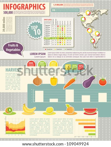 Set elements of infographics and food icon. Map of America. Easy to edit country. Harvest - stock vector