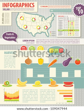 Set elements of infographics and food icons. Map of USA and Information Graphics - stock vector