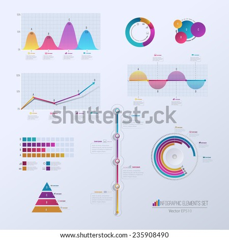 Set elements of infographics. Can be used for work flow layout,presentation, diagram, graph,  timeline, chart, business step options. Vector illustration EPS10 - stock vector