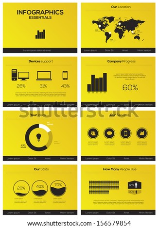 Set elements of infographics presentation template - stock vector