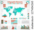 Set elements of infographics red-blue - stock vector