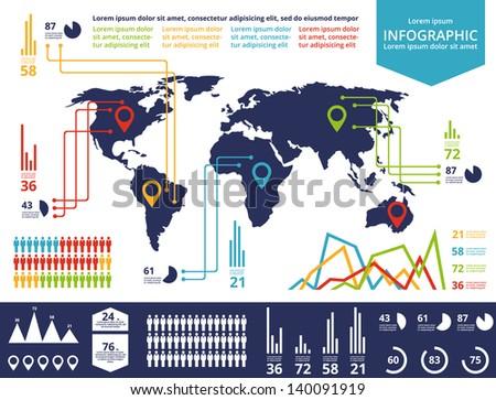 Set elements infographics world map information stock vector set elements of infographics world map and information graphics gumiabroncs Gallery