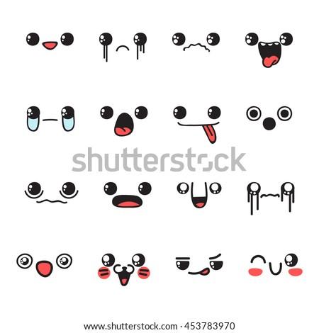 set emoticon emotions doodle web emoji stock vector