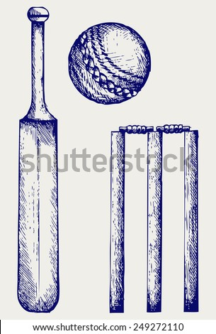 Set equipment for cricket. Cricket bat and ball. Doodle style - stock vector