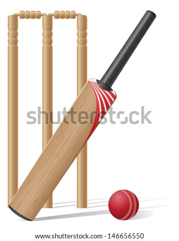 set equipment for cricket vector illustration isolated on white background - stock vector