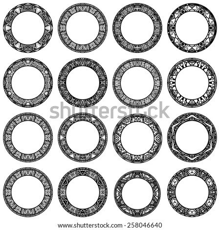 Set ethnic circle reminiscent of the Aztec ornament - stock vector
