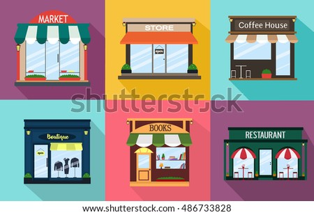 Set facades, cafe, shop, restaurant, boutique