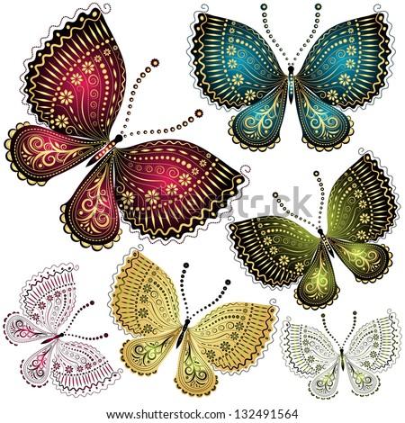 Set fantasy colorful vintage butterflies (vector) - stock vector