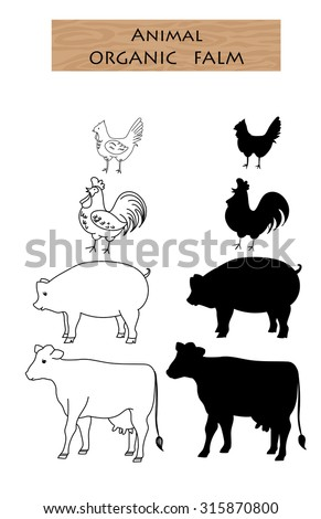 set farm animal cow pig chicken silhouette and line doodle vector illustration - stock vector