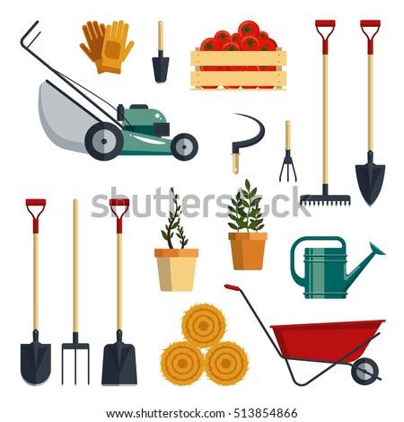 Set farm tools flatvector illustration garden stock vector for Agriculture garden tools