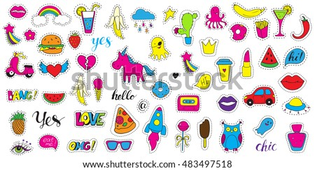 Set fashion patch badges. Hand drawn vector cartoon funny stickers. Modern doodle pop art sketch and inscriptions. Cute isolated pins and icons. Bright fashion elements. Embroidery, applique, patch.