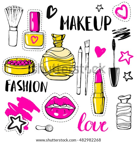 Set fashion patch badges. Hand drawn vector sticker. Modern pop art sketch and calligraphy. Cosmetics. Embroidery, applique. Lips, rouge, nail polish, perfume, mascara, lipstick. Accessories for woman
