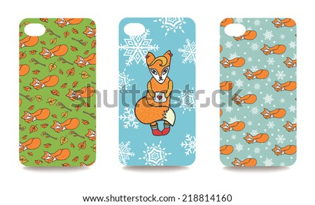 Set fashionable Fox ornaments  for mobile phone cover. The visible part of the clipping mask. The sample is ready for printing after the release clipping mask.Vector illustration    - stock vector
