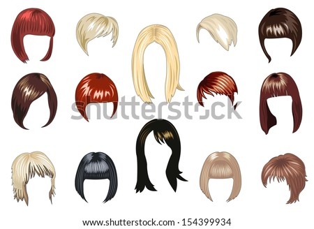 set female hairstyle - stock vector