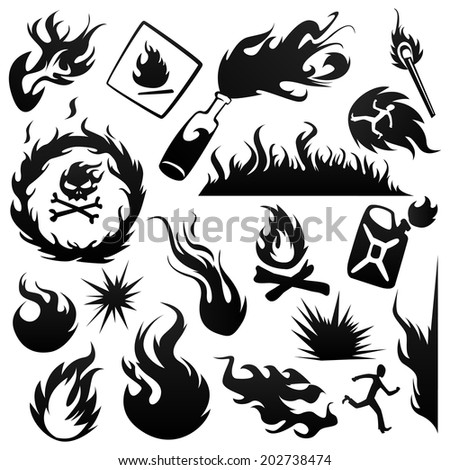 Set fire - stock vector