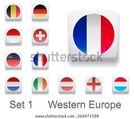 Set 1. Flags of the countries of Western Europe. Flag in the form of computer button. All elements and textures are individual objects. Each image has a name. Illustration. Vector. Icon. - stock vector
