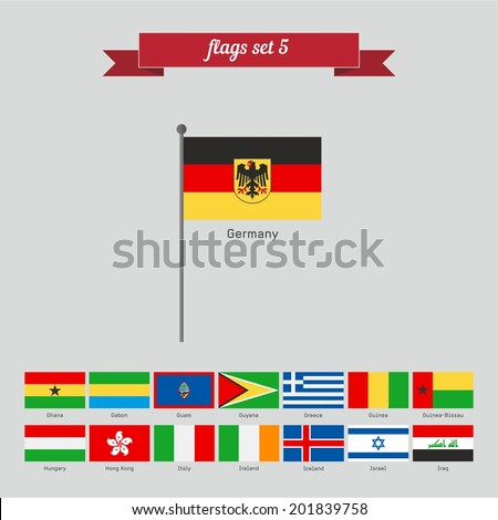 Set 5. Flags of the world. Flat style design - vector - stock vector