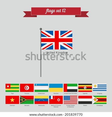 Set 12. Flags of the world. Flat style design - vector - stock vector