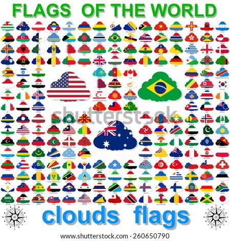 Set  Flags of world sovereign states in  form  clouds. Vector illustration.  - stock vector