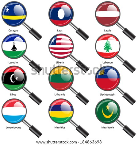 Set  Flags of world sovereign states Magnifying glass. Vector illustration. Set number 9. Exact colors. Easy changes. - stock vector