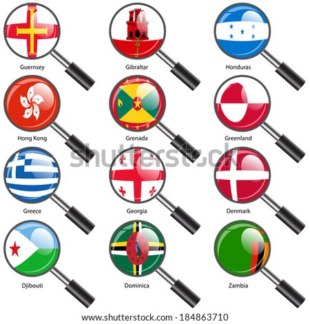 Set  Flags of world sovereign states Magnifying glass. Vector illustration. Set number 5. Exact colors. Easy changes. - stock vector