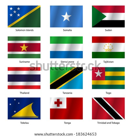 Set  Flags of world sovereign states. Vector illustration. Set number 15. Exact colors. Easy changes.