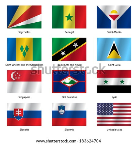 Set  Flags of world sovereign states. Vector illustration. Set number 14. Exact colors. Easy changes.