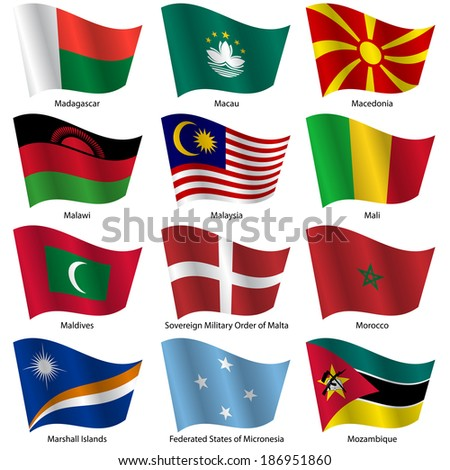 Set  Flags of world sovereign states. Vector illustration. Set number 10. Exact colors. Easy changes.