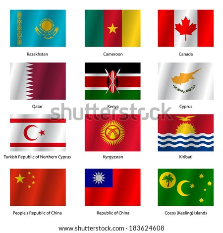 Set  Flags of world sovereign states. Vector illustration. Set number 7. Exact colors. Easy changes. - stock vector