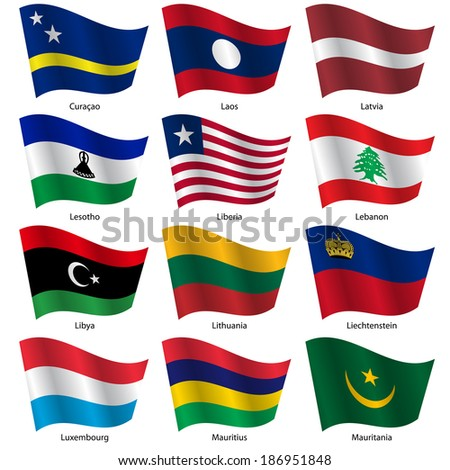 Set  Flags of world sovereign states. Vector illustration. Set number 9. Exact colors. Easy changes. - stock vector