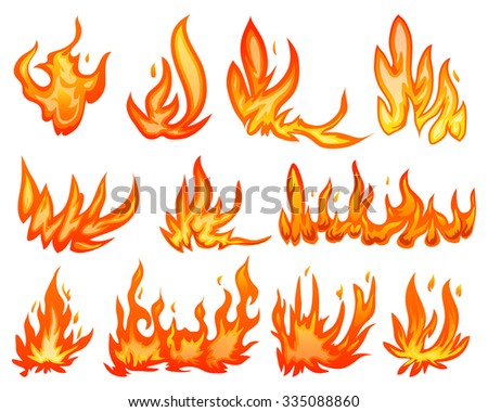 set flame fire isolated on white - stock vector