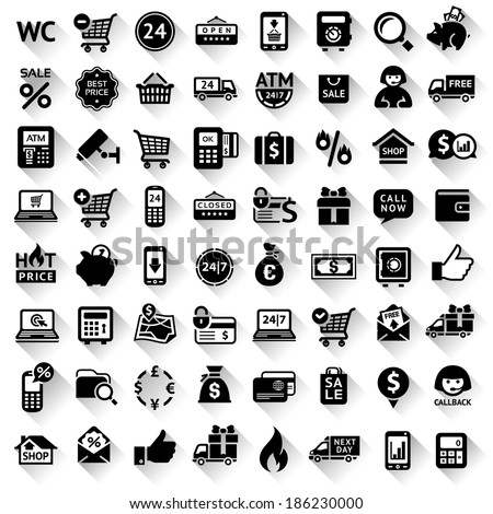 Set flat black icons, 64 symbols with shadow. Vector illustration