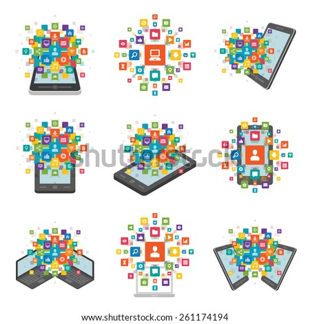 Set Flat design vector illustration infographic design elements concept. Business and social media design icons and devices. Design template.  - stock vector