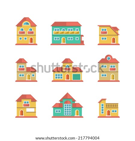 Set flat icons of houses and buildings isolated on white. Vector illustration - stock vector