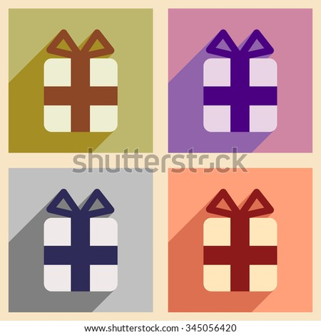 Set flat icons with long shadow Christmas gift  - stock vector