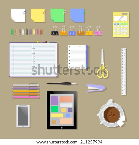 Set flat office workplace environment, tools and essentials. Various devices. Vector collection concept in stylish trendy colors of business items and elements. Isolated vector illustration. - stock vector