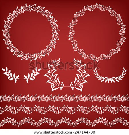 Set floral borders and frames.   Vector illustration. - stock vector