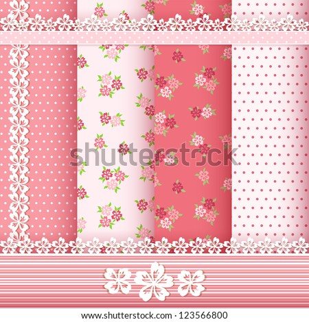 Set floral patterns and borders. Vector. - stock vector