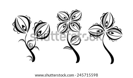 set flowers abstract stylized black and white. Vector - stock vector