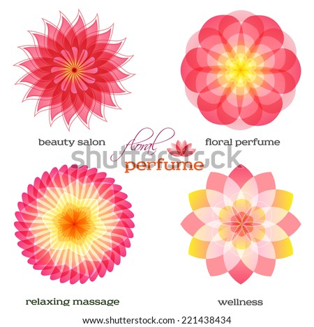 Set flowers isolated icons design. Floral aromatherapy & organic production for spa treatment. Concept symbol for floral parfume, beauty salon, relax aroma massage, resort. Vector illustration EPS 10 - stock vector